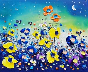Northern Lights & Flowers in Love, an original oil painting on canvas Phil Broad