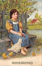 Easter~Country Girl on Block Wall~Fence~Eggs in Lap~Chicks Hatch~Gold Leaf Embos