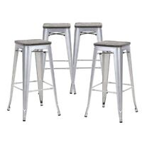 Set of 4 Gray Wooden Seat 30 Inches Bar Height Metal Bar Stools, Indoor/Outdoor