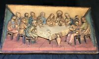 Vintage Italian Plaque Last Supper Hanging Wall Art 3D Religious Christianity