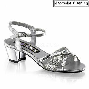 Funtasma Girls Charming Silver Glitter Sandal Rockabilly Kids Birthday Wedding