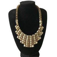 Necklace Ribbon Gold Tone Chain Link Statement Collar Runway Power Dresser