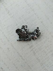 Vintage Mexico Sterling Silver Santa Claus in Sleigh with bags of toys Pin