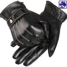 Men's PU Leather Winter Wrist Glove Driving Black Gloves Cool CGLOV3339
