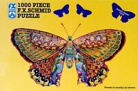 F X Schmid WHIMSICAL BUTTERFLY 1000 piece Jigsaw Puzzle rabbits peacocks faces