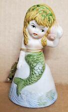 Vintage Jasco Adorabelles Mermaid Bell Ceramic Bisque Porcelain With Tag