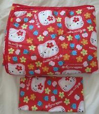 HELLO KITTY Red Reversible Twin Quilt Comforter & Pillowcase Set VTG 1996 SANRIO