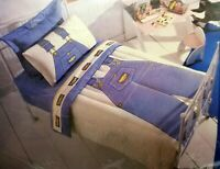 Boys OshKosh Twin Sheet Set Blue Striped Overalls No Iron Percale Utica Vintage