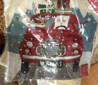 Pottery Barn Road Trip Santa Pillow Cover 18 sq Christmas Crewel Embroidered New