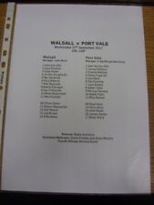27/09/2017 teamsheet: Walsall U23 V PORT VALE U23 [SPARTITRAFFICO League Cup].