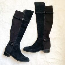 Ivanka Trump boots 10 M leather black knee high low heel suede stretch