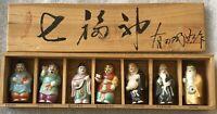 "Set 7 Japanese Kutani Lucky Gods Porcelain Ceramic Figurines 2"" Netsuke Vintage"