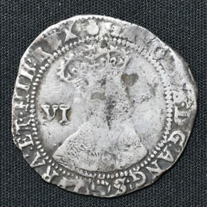 1603 England, James I, Sixpence, 1st Coinage, 2nd Bust, mm Thistle, S2648, N2075