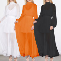 UK Womens See-through Sheer Sundress Puff Sleeve Cocktail Party Baggy Maxi Dress