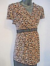 Motherhood  Maternity Top Black Brown White Print Size XL Short Sleeves #592