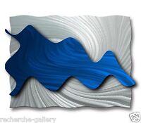 Abstract Metal Wall Art Contemporary Home Decor Modern Blue Sculpture Ash Carl
