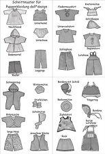 °°27 Schnittmuster für Puppenkleidung Gr. 43cm Baby Puppen Set 2 °°