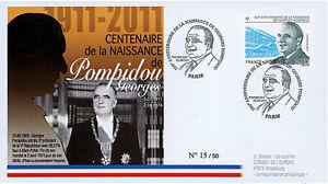 """POMP11-1 FDC """"1er Jour - 100e anniversaire Naissance POMPIDOU"""" (Paris) 2011"""
