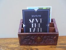 Small 3 tier letter rack, carved hardwood & brass inlay, made in India