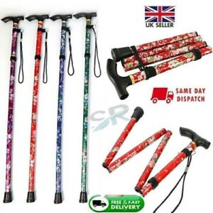 Easy Folding Adjustable Floral Walking Stick for Disable + All color