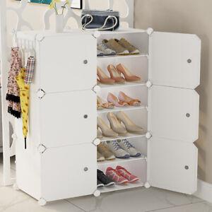 12 Cubes Interlocking DIY Shoe Bookcase Organizer Rack Stand Storage Cabinet Box