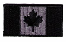 "IRON-ON Canada flag 2"" x 1""  black/silver biker SWAT police patch"