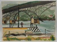 Vintage Watercolor Painting Ink Drawing on Paper Bridge circa 1960