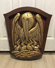 More details for antique rare masonic / religious carved gilt wood plaque - pelican in her piety