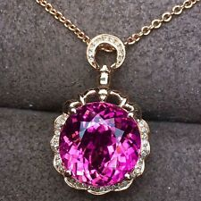 20Ct Round Amethyst Simlnt Diamond Necklace Pendant Locket Silver Yellow Gold FN