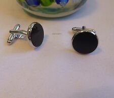Silvered solid brass Imitate black agate round shape Cufflinks  Dia 15mm