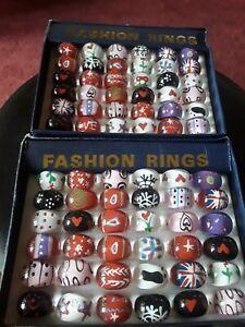 Girls & boys plastic rings. Bold patterns hearts, stars, flakes, dots retro x1☆☆