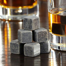 9pcs Whisky Ice Stones Drinks Cooler Cubes Whiskey Scotch Rocks Granite & Pouch