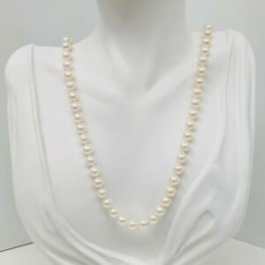 """Akoya Pearl Necklace 7.0 - 7.5mm Round White w/ Pink Overtones S/Silver 18"""""""