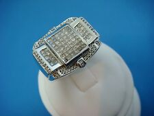 14K WHITE GOLD 1.50 CT INVISIBLE SET PRINCESS CUT DIAMONDS MEN'S CLUSTER RING