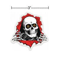 "Powell Peralta Bones Brigade Ripper White Clear Skateboard Sticker Diecut 3"" New"