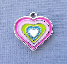 Lot 10pcs Pendant Dangle Heart rainbow Charms  DIY Jewelry findings C94