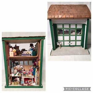 Artist Carol Hylton Miniature Dollhouse Diorama Room Box Garage Sale FULL!!