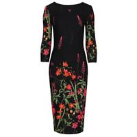 Black and Multi Floral Print 3/4 Sleeve Bodycon Pencil Wiggle Dress
