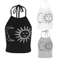 Women Halter Printed Vest Cami Camisole Ladies Sleeveless Backless Tank Top CHK