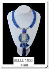 Luxus XL Halskette Statement Kette Lederkette Perlmutt Howlith Anhänger Blau
