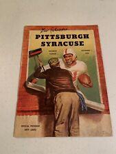 GER SCHWEDES SIGNED 1958 SYRACUSE FOOTBALL VS PITTSBURGH Program