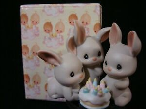 Precious Moments-Rabbits-Birthday Cake-Another Year And More Grey Hares