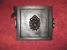 Cast Iron Furnace Wood Stove Door w/ Lion Face Freshly Painted Black