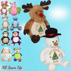 Personalised Teddy Bear, Embroidered Christmas gift. Rudolf, Reindeer