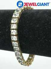 """White Stone Bracelet 7.25"""" #bn593 Uncas Signed Gold Plated Sterling Silver"""