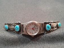 Watch Band Tips Signed Wil Vintage Navajo Sterling Silver & Turquoise