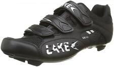 NEW LAKE Cycling Shoes RRP £80 CX160 Road 39 40 5 6 Mens 3 bolt Black Velcro NOS