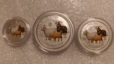 "Australian Lunar II ""Year of the Goat""( Coloured ) 2015, The set of Silver coins"