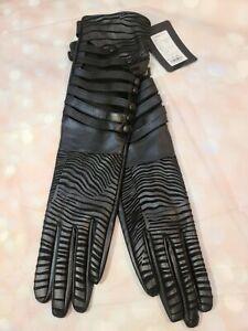 FIORETTO WOMEN ELBOW LEATHER DRESS GLOVES BLACK BUTTON OPEN ZEBRA DESIGN UNLINED