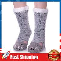 Cute Cat Animal Fuzzy Slipper Socks Winter Soft Warm Fleece Lining Knit Socks